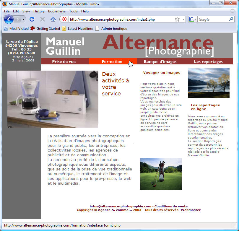 Page d'accueil du site Alternance Photographie