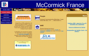 Page d'accueil de l'intranet McCormick France