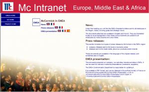 Page d'accueil de la section EMEA de l'intranet global