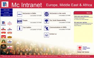 Page d'accueil de l'intranet global EMEA